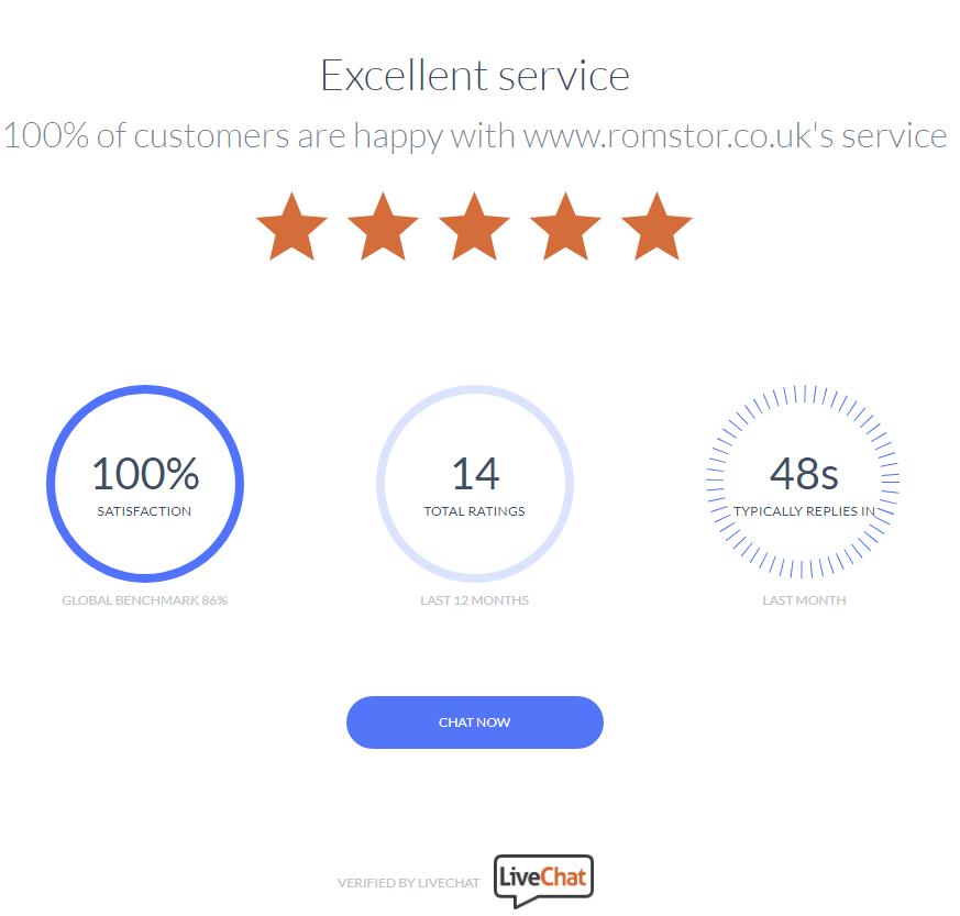 100% customer satisfaction with www.romstor.co.uk