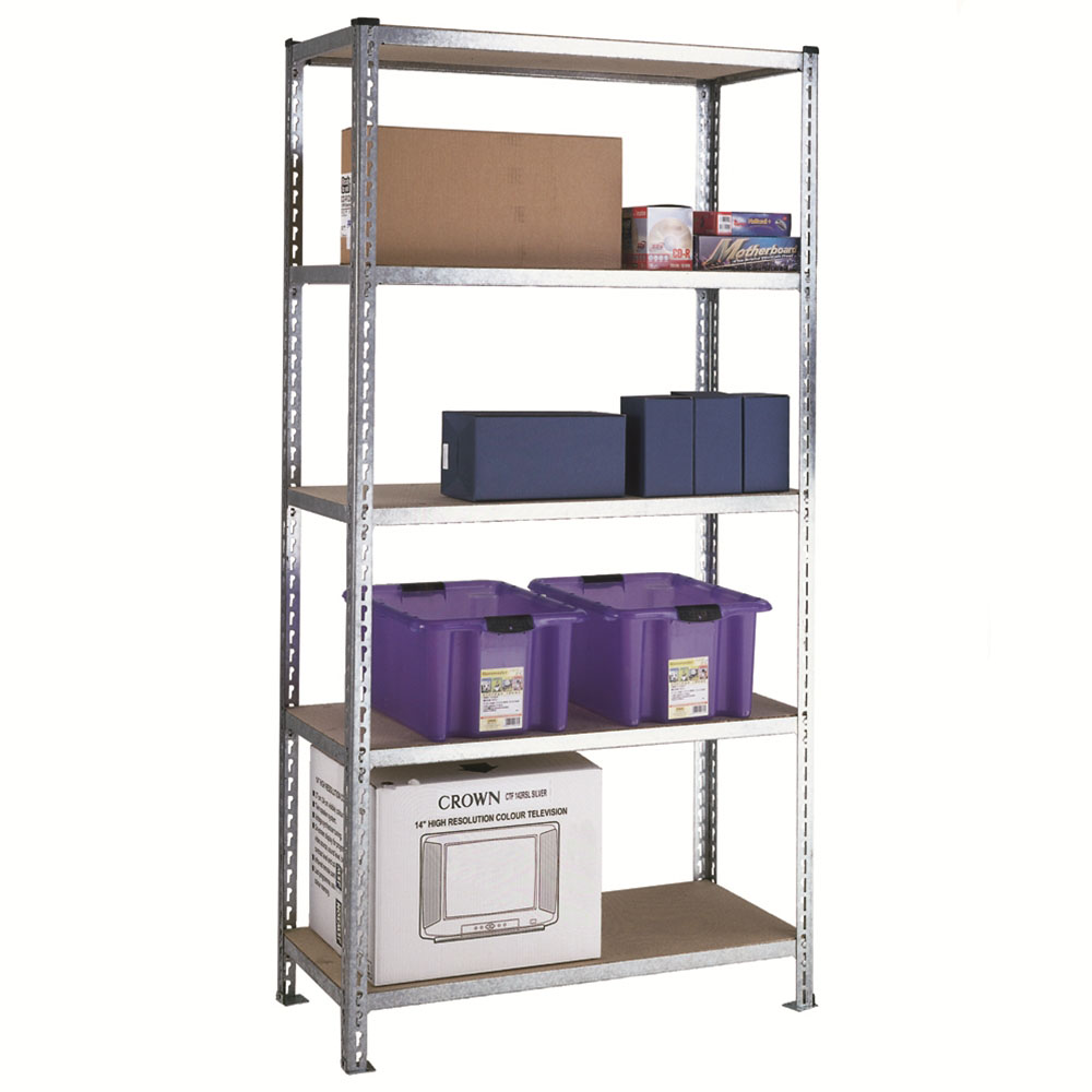 Galvanised shelving with chipboard shelves