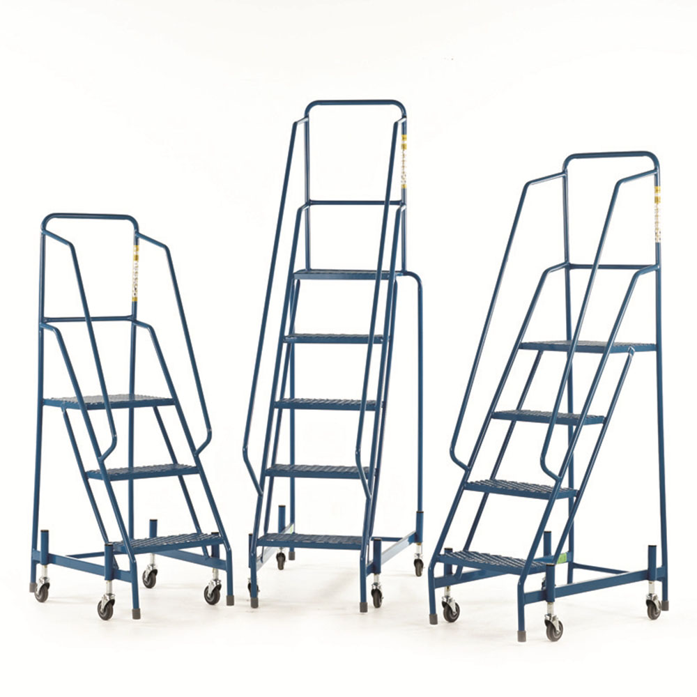 Mobile Steps with Mesh Treads - Weight Reactive Retractable Castors