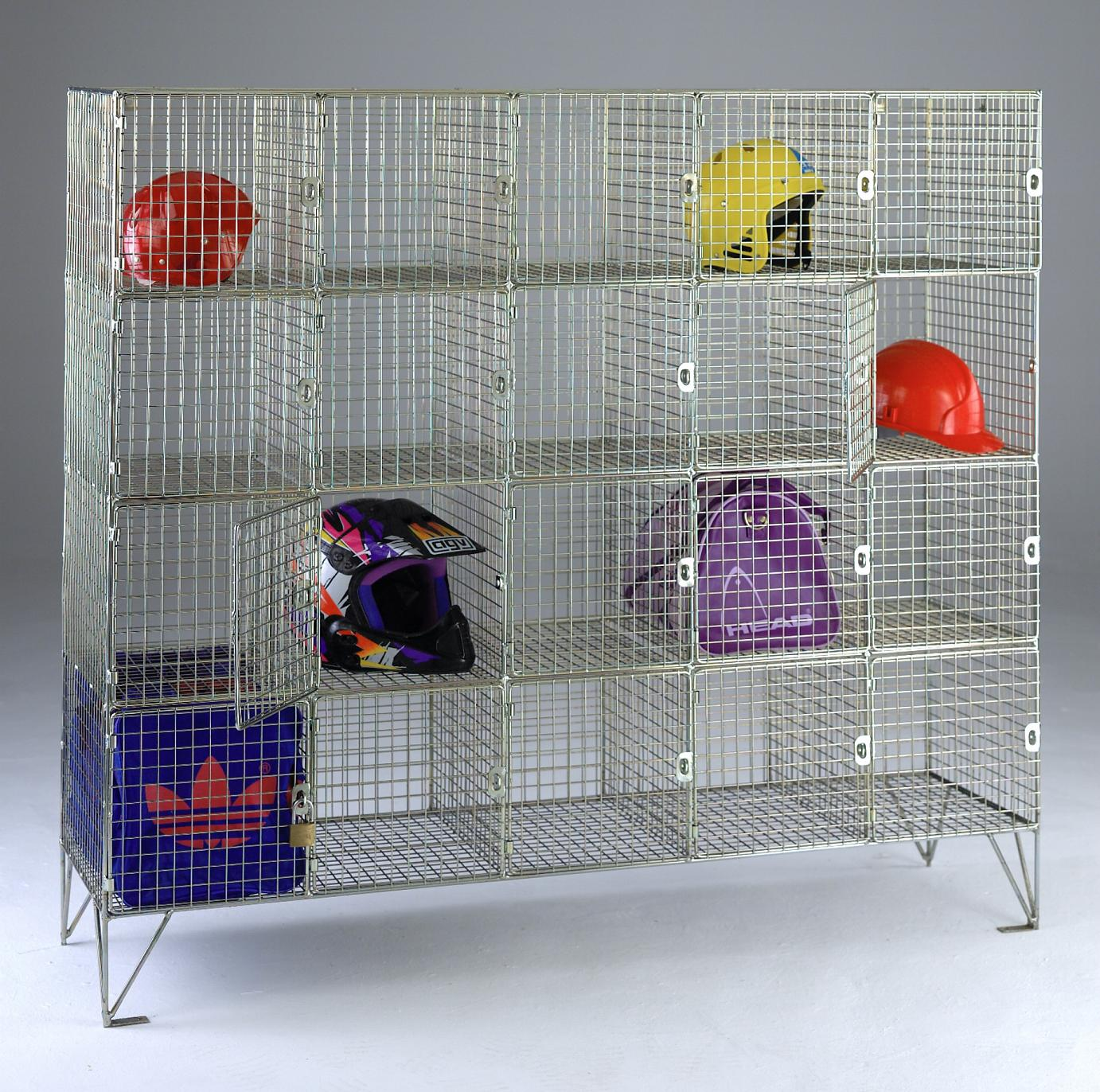 20 Wire Mesh Locker Compartments with doors