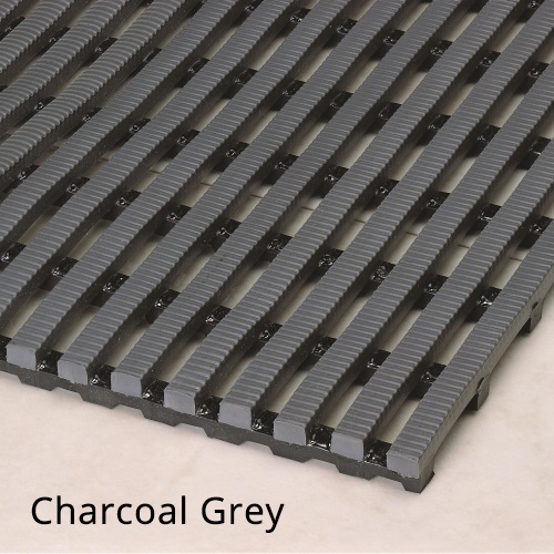 Heronrib Wet Area Non Slip Mat Charcoal Grey