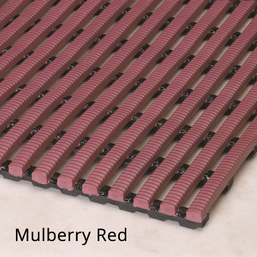 Heronrib Wet Area Non Slip Mat Mulberry Red