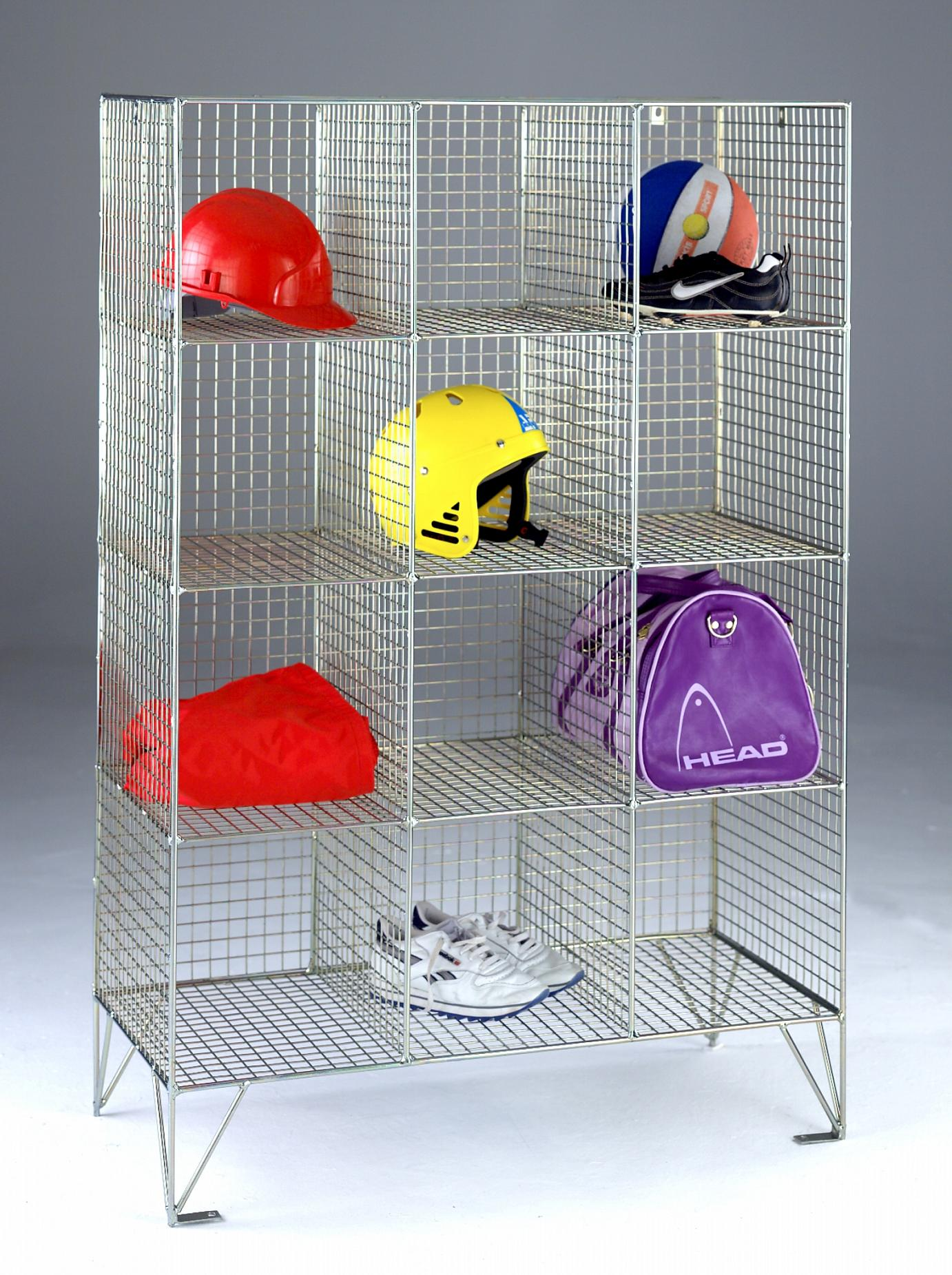 12 Wire Mesh Locker Compartments