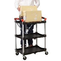 Folding Trolley with Polypropylene Shelves & Aluminium Frame