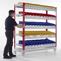 Mobile Kanban shelving with containers